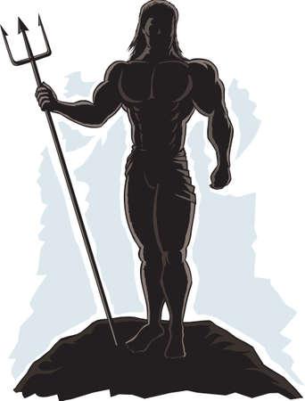 輪郭を描かれた王ネプチューン
