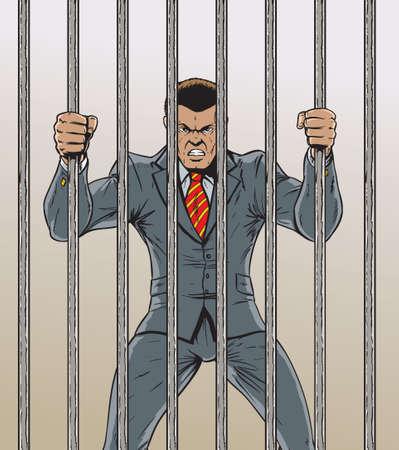 behind bars: Business man Prisoner