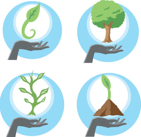 supporting: Growing plants  Illustration