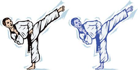 karate kick: Stylized Sidekick