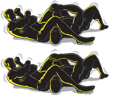 wrestling: Jiu jitsu Arm bar outline