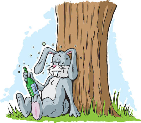 cartoon hare: Drunk Rabbit