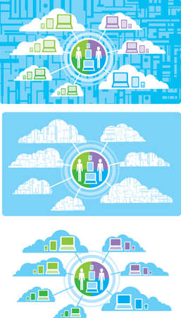 smart phone woman: Network Computing Illustration