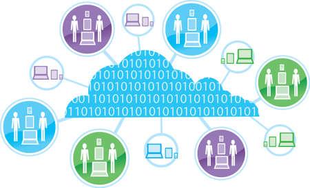 smart phone woman: Cloud computing Icon