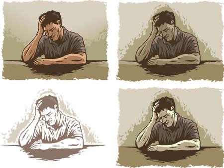 Depressed Stressed man Иллюстрация