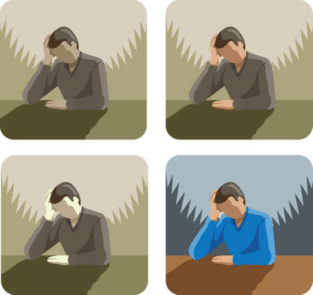 Depressed Stressed man Icon Vector