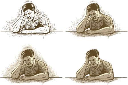 Ink drawing of depression headache or stress Ilustração