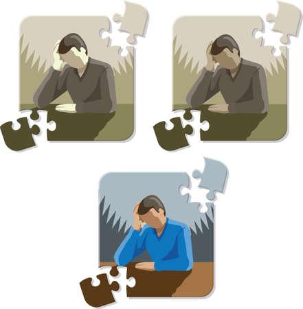 depressive: Depressed Stressed man puzzle