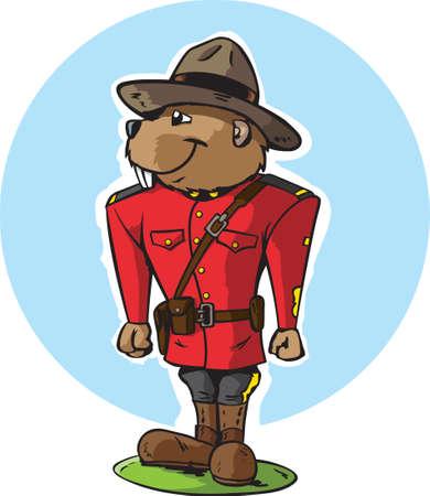 Beaver Mountie  イラスト・ベクター素材