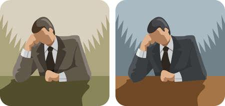 Pondering Business man Stock Vector - 24544772