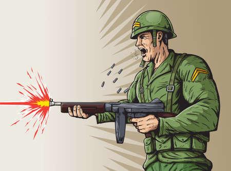 cartoon soldat: 2. Weltkrieg Soldat