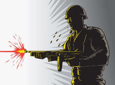 hombre disparando: Esquema Soldado