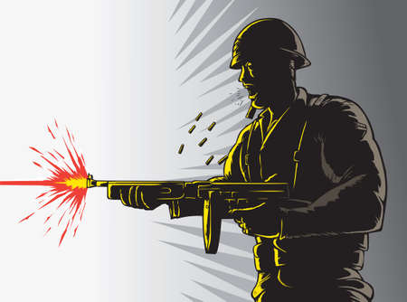 man gun: Soldier outline Illustration