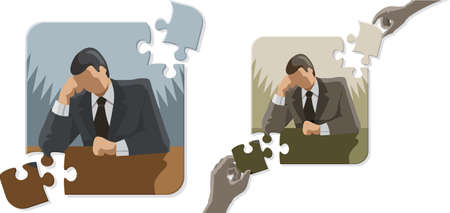 Thinking Puzzle Man Stock Vector - 24561086