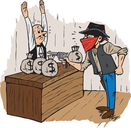 cartoon bank: Bank Robbery