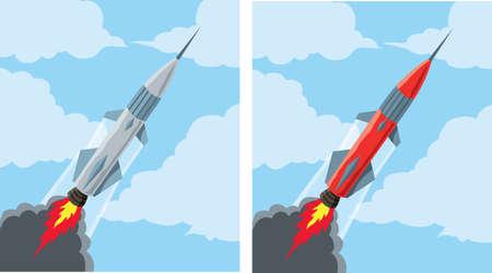 空飛ぶロケット アイコン