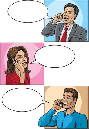 smart phone woman: Comic book callers