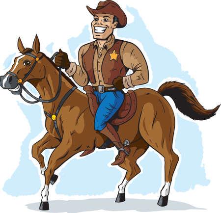 caricatura caballo: Vaquero en caballo Vectores