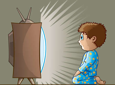 Boy watching TV Stock Illustratie