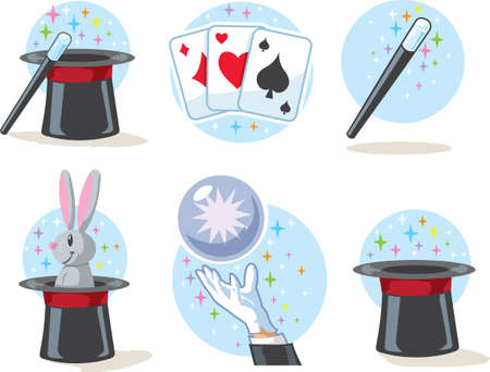 hand holding playing card: Magician Icons Illustration
