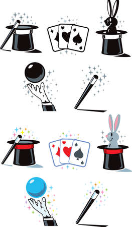 hand holding playing card: Flat Magician Icons