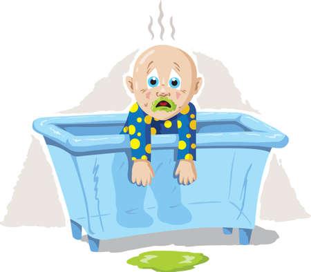 vomito: Enfermo de bebé Vectores