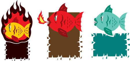 Hot fish cartoon Illustration