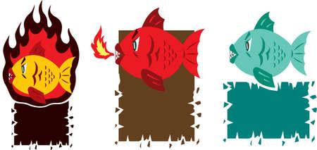 devil fish: Hot fish cartoon Illustration
