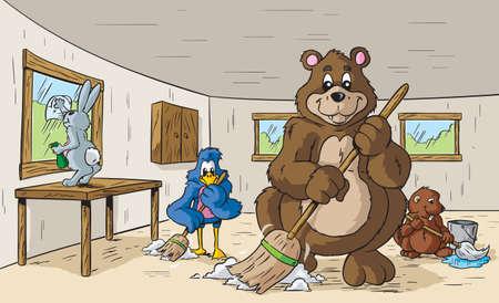 arboles de caricatura: Animales limpieza Vectores