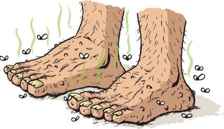 old man standing: Dirty old feet Illustration