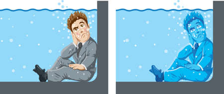 Man in Shallow water Illustration