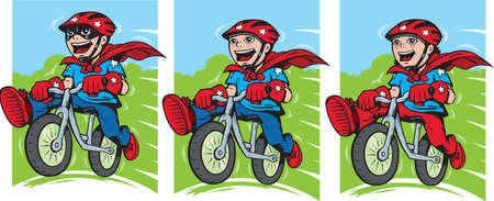 Super kid on bike Vector