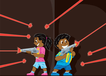 Cute Laser Tag kids Vector