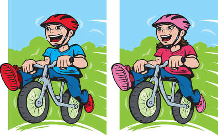 Boy and girl on their bikes  Vector