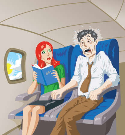 woman flying: Scared of flying