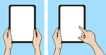 Girl with tablet Ilustrace