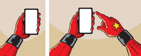 Held met smartphone Stock Illustratie
