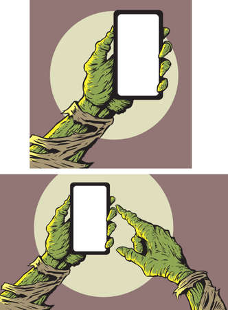 hand holding smart phone: Zombie with smartphone