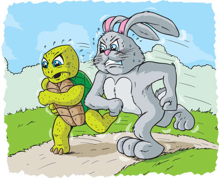 cartoon hare: Rabbit and turtle racing