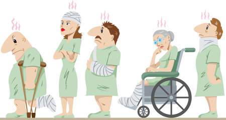 Lineup of injured people Vector