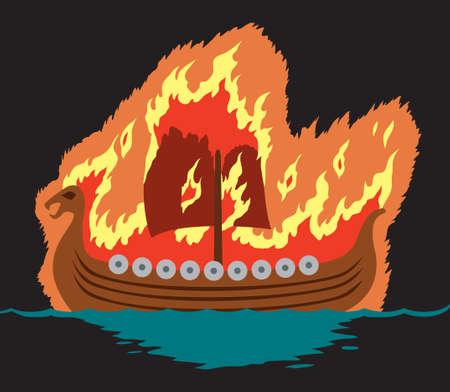 Viking begrafenis Stock Illustratie