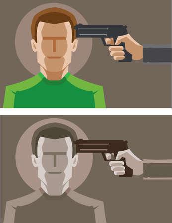 robbery: Under the gun icon Illustration