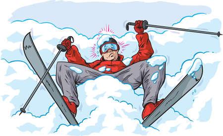 Fallen skier  イラスト・ベクター素材