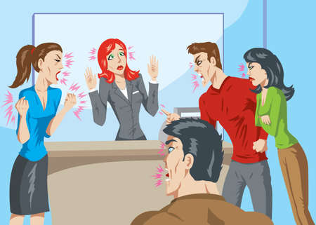 woman shouting: Angry customers Illustration