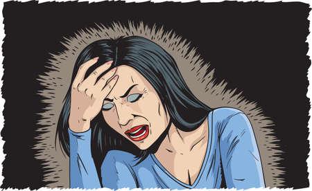 Woman with bad headache Illustration