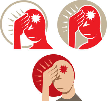 hurting: Icon of a headache or migraine Illustration