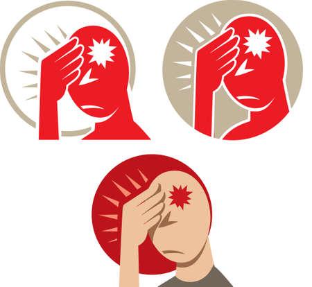 woman headache: Icon of a headache or migraine Illustration