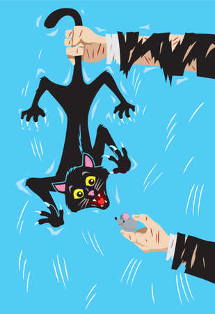 animal abuse: Holding a happy cat by the tail Illustration