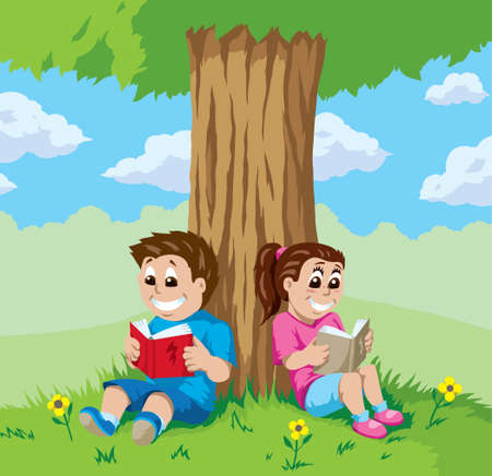 literate: Kids reading under a tree