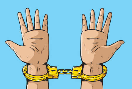 Man in Golden Handcuffs Vector